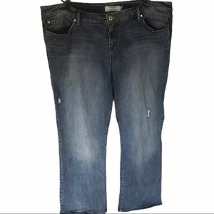 TORRID Distressed Jeans in a medium to light wash